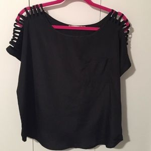 LUSH black top with detailed sleeves